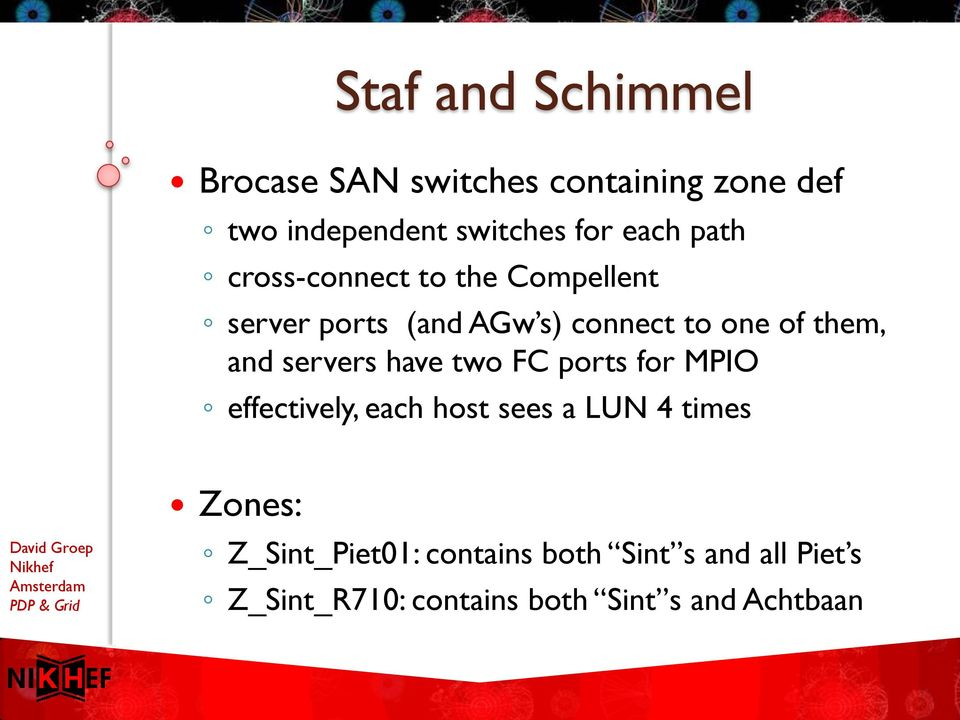 and servers have two FC ports for MPIO effectively, each host sees a LUN 4 times Zones: