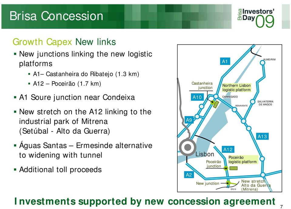 alternative to widening with tunnel Additional toll proceeds A9 A2 Castanheira junction A10 Lisbon Poceirão junction New junction A1 Northern Lisbon logistic
