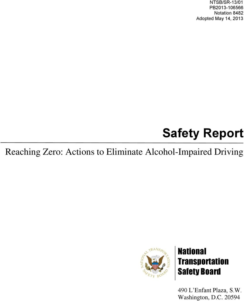 Alcohol-Impaired Driving National Transportation