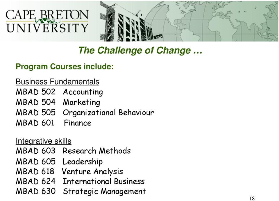 Finance Integrative skills MBAD 603 Research Methods MBAD 605 Leadership MBAD
