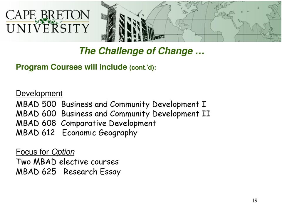 Business and Community Development II MBAD 608 Comparative Development