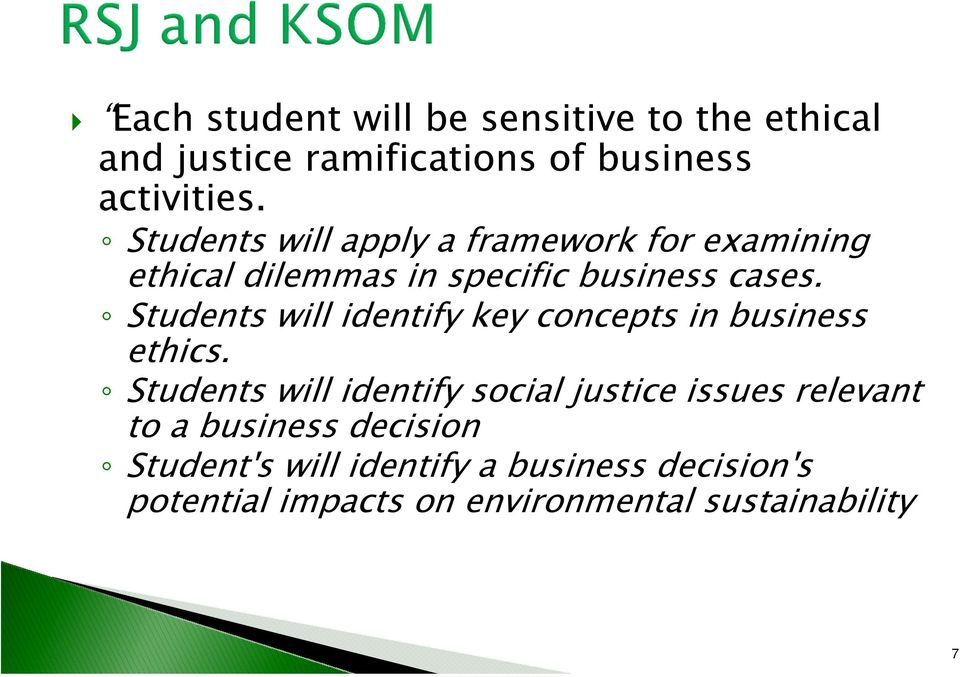 Students will identify key concepts in business ethics.