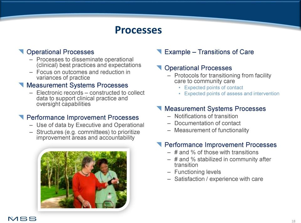 t capabilities Performance Improvement Processes Use of data by Executive and Operational Structures (e.g.