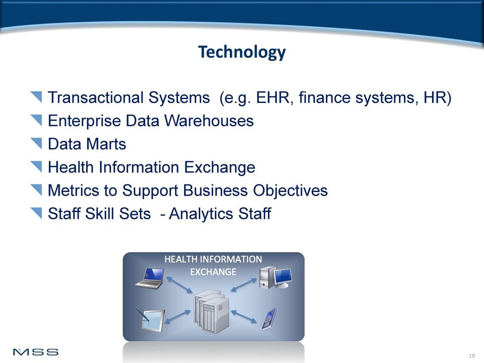 EHR, finance systems, HR) Enterprise Data