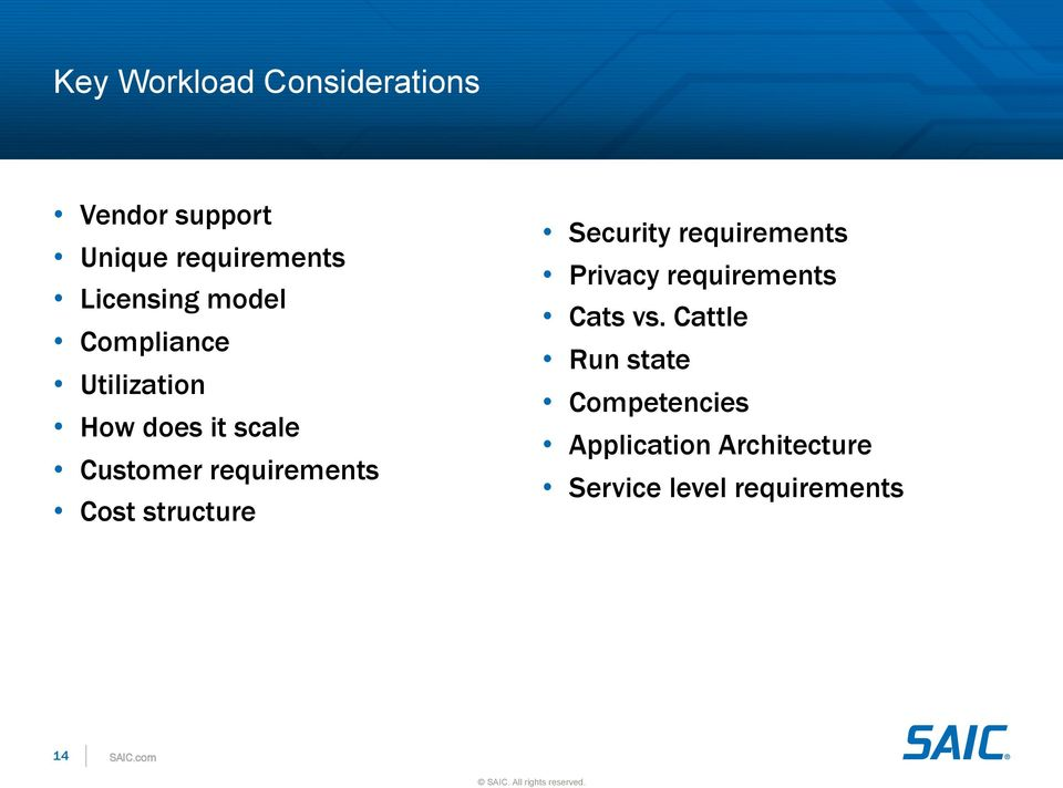 structure Security requirements Privacy requirements Cats vs.