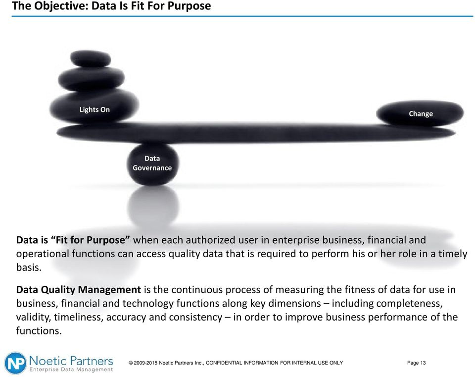 Data Quality Managementis the continuous process of measuring the fitness of data for use in business, financial and technology functions along key dimensions