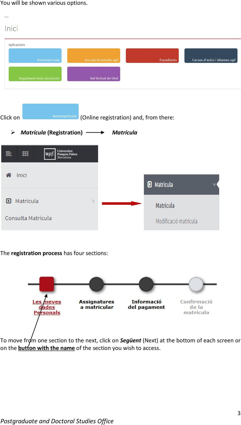 Matrícula The registration process has four sections: To move from one section