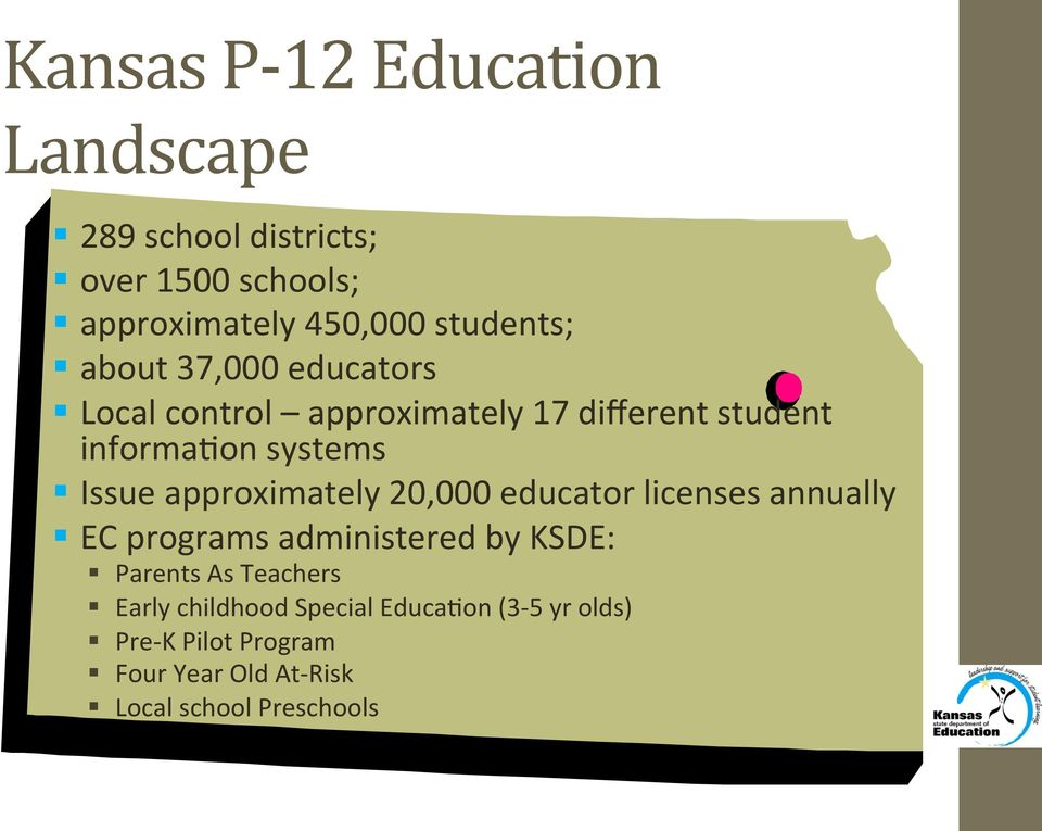 Issue approximately 20,000 educator licenses annually EC programs administered by KSDE: Parents As