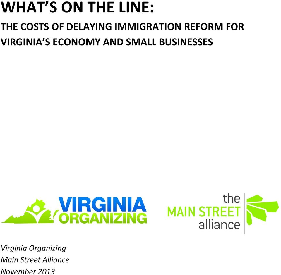 VIRGINIA S ECONOMY AND SMALL BUSINESSES