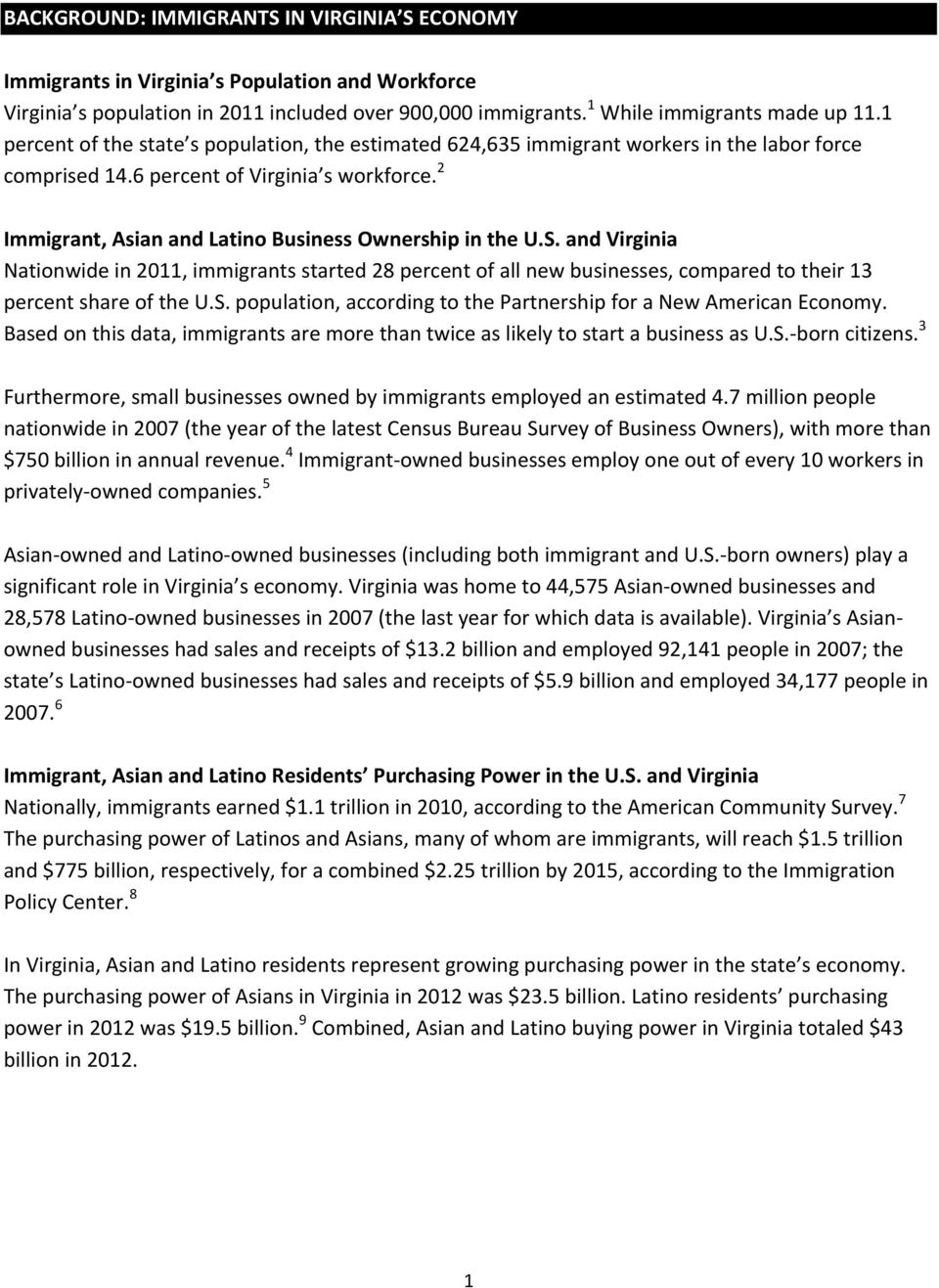 2 Immigrant, Asian and Latino Business Ownership in the U.S. and Virginia Nationwide in 2011, immigrants started 28 percent of all new businesses, compared to their 13 percent share of the U.S. population, according to the Partnership for a New American Economy.
