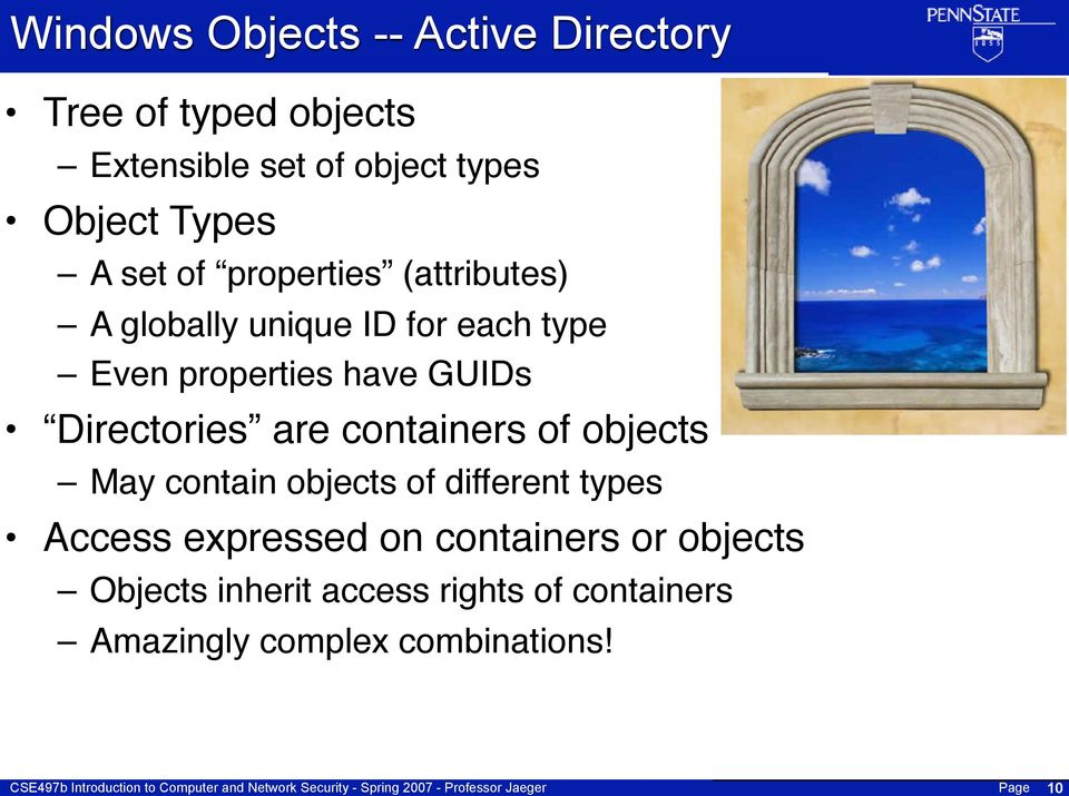 GUIDs Directories are containers of objects May contain objects of different types Access