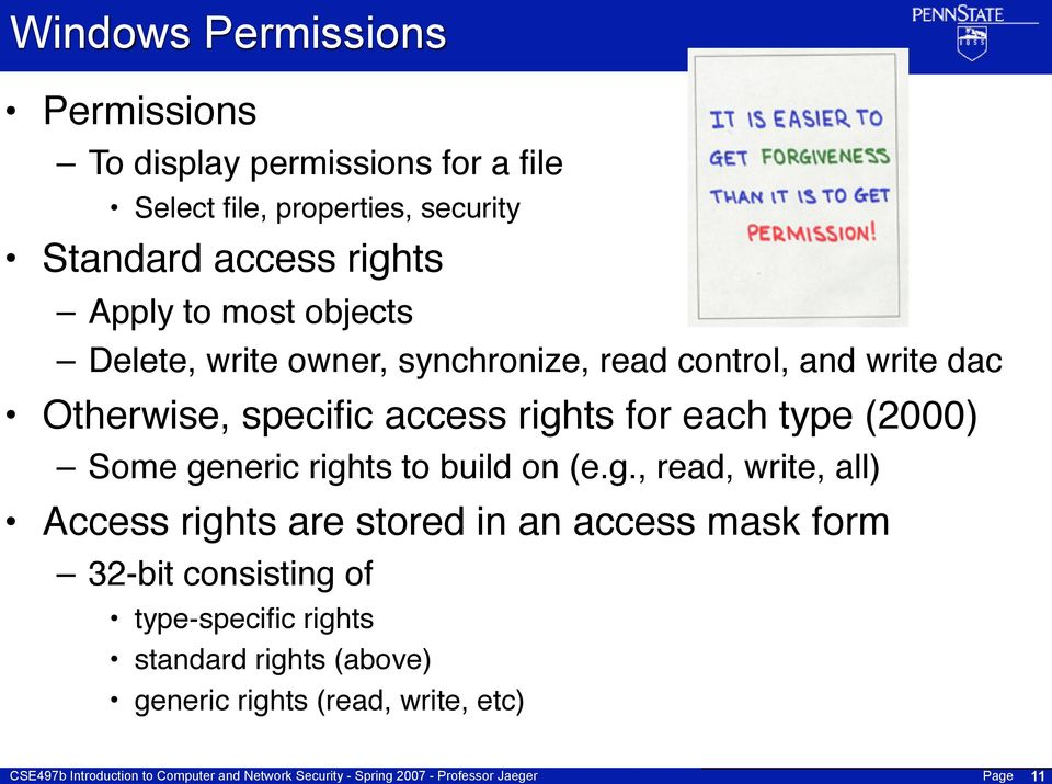 rights for each type (2000) Some generic rights to build on (e.g., read, write, all) Access rights are stored in an