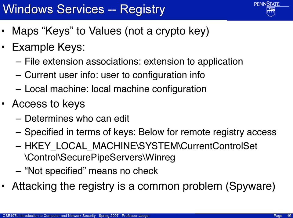 Determines who can edit Specified in terms of keys: Below for remote registry access