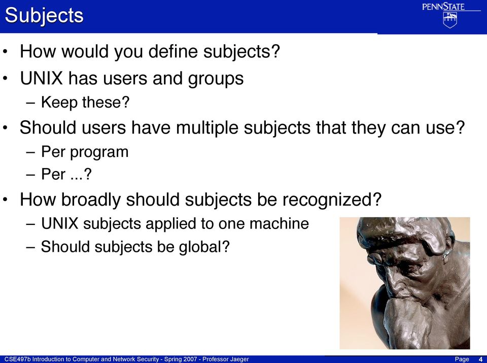 Should users have multiple subjects that they can use?