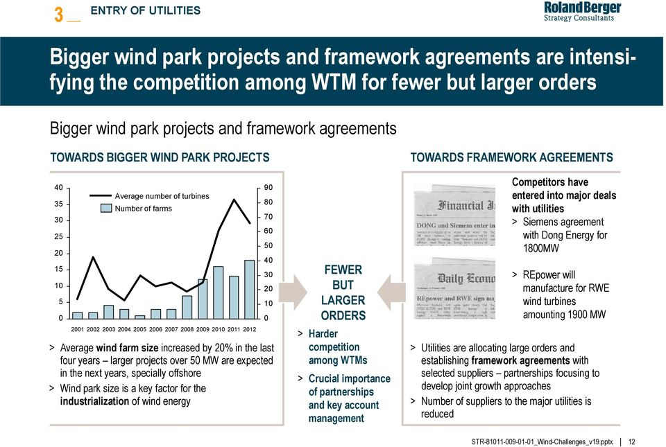 increased by 20% in the last four years larger projects over 50 MW are expected in the next years, specially offshore > Wind park size is a key factor for the industrialization of wind energy 60 50