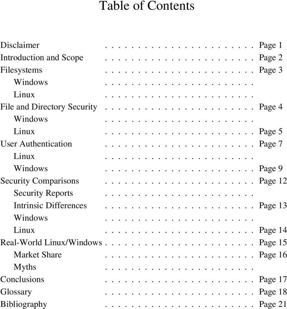...................... Windows....................... Page 9 Security Comparisons....................... Page 12 Security Reports....................... Intrinsic Differences....................... Page 13 Windows.