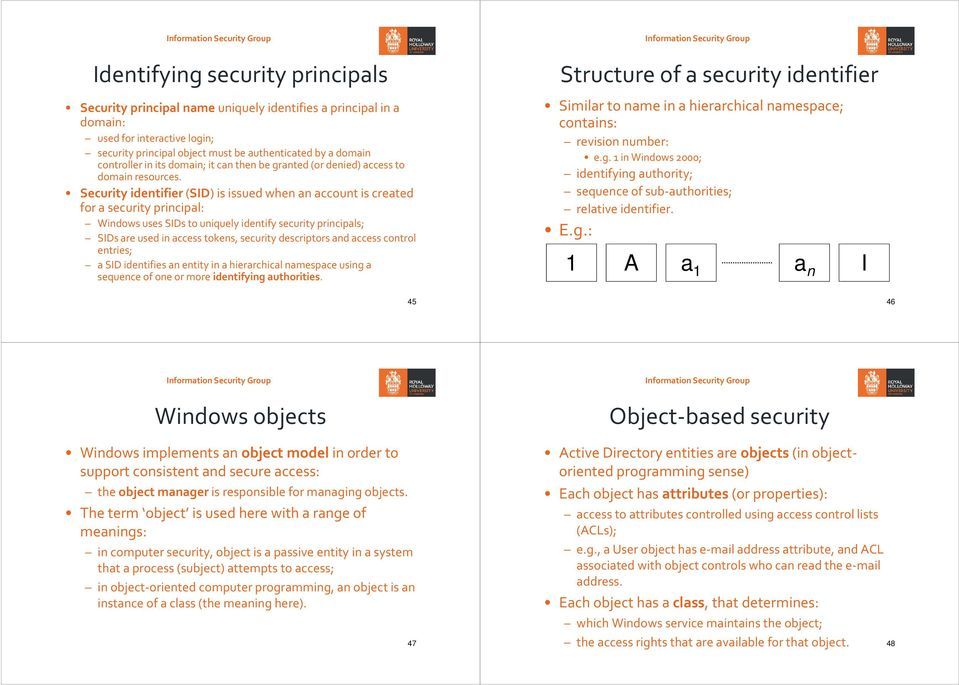 Security identifier(sid) is issued when an account is created for a security principal: Windows uses SIDs to uniquely identify security principals; SIDs are used in access tokens, security