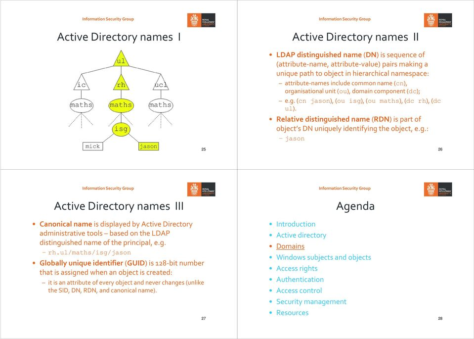 Relative distinguished name(rdn) is part of object s DN uniquely identifying the object, e.g.: jason 25 26 Active Directory names III Canonical nameis displayed by Active Directory administrative tools based on the LDAP distinguished name of the principal, e.