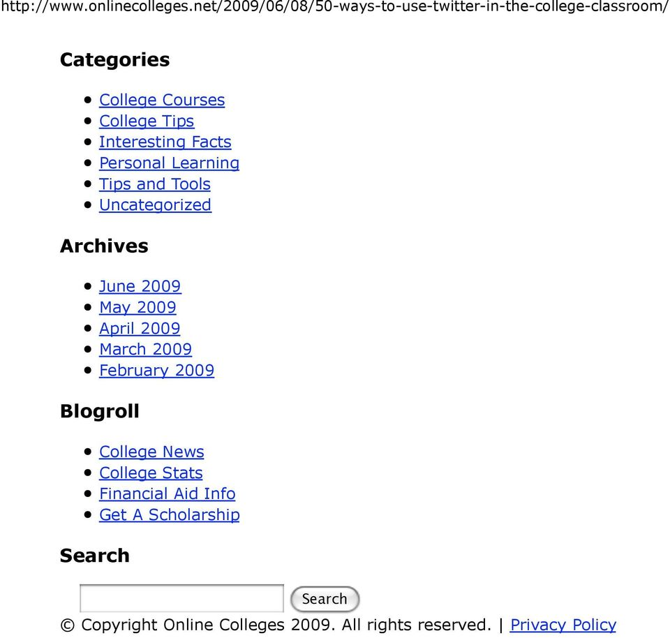 February 2009 Blogroll Search College News College Stats Financial Aid Info Get