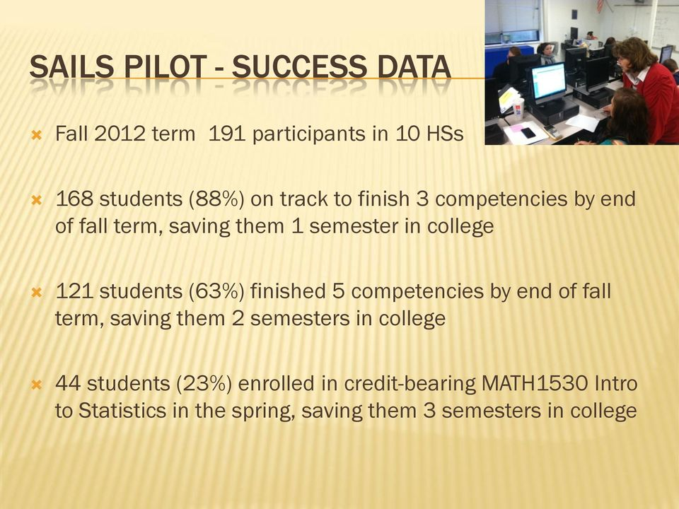 finished 5 competencies by end of fall term, saving them 2 semesters in college 44 students (23%)