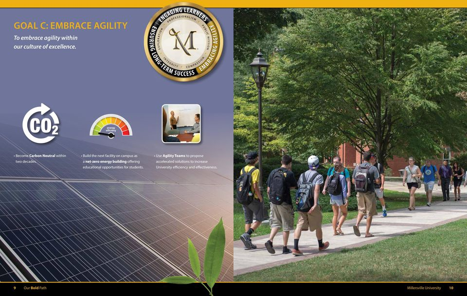 Build the next facility on campus as a net-zero energy building offering educational