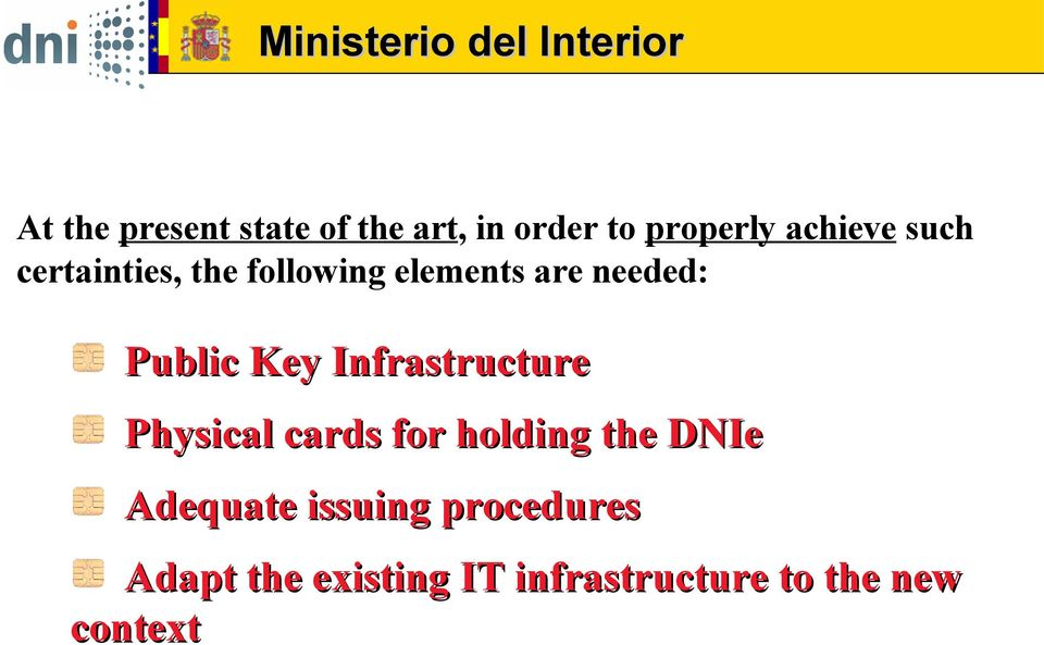 Infrastructure Physical cards for holding the DNIe Adequate