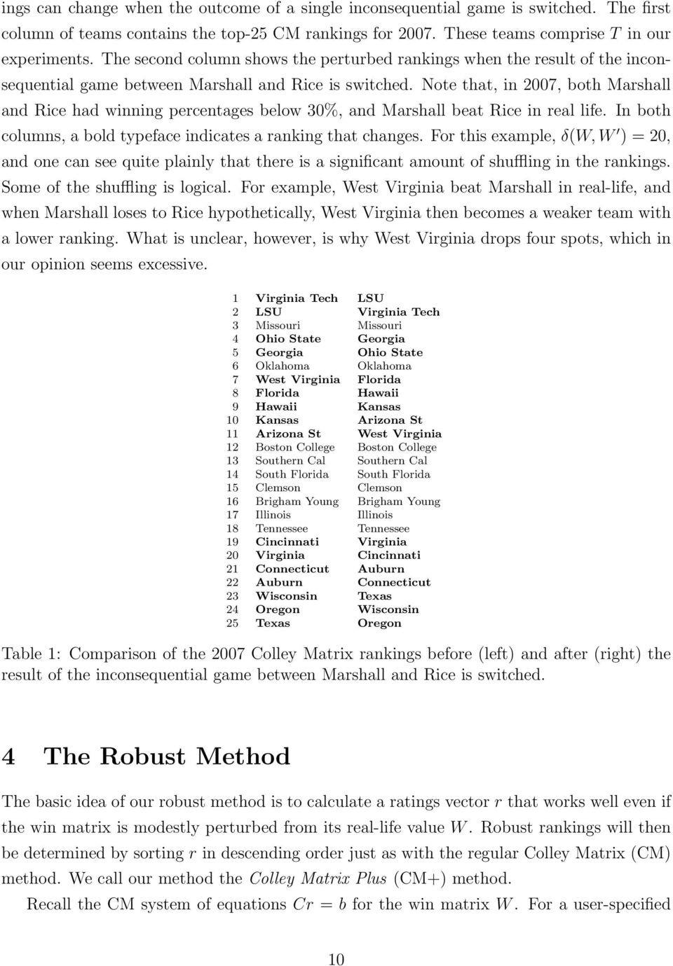 Note that, in 2007, both Marshall and Rice had winning percentages below 30%, and Marshall beat Rice in real life. In both columns, a bold typeface indicates a ranking that changes.