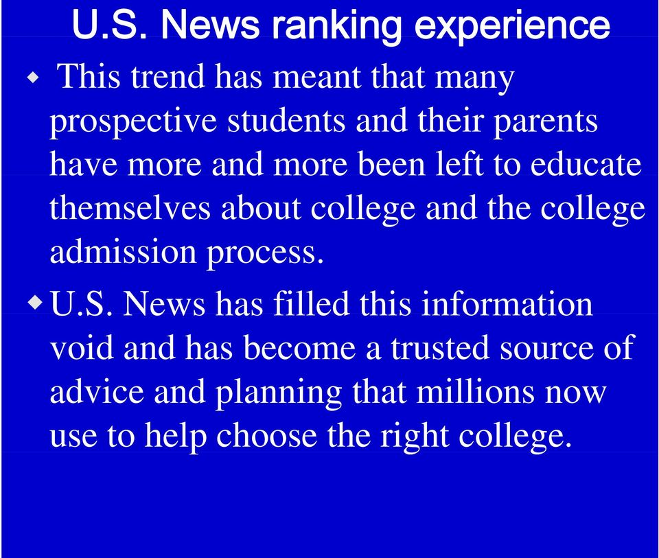 college admission i process. U.S.