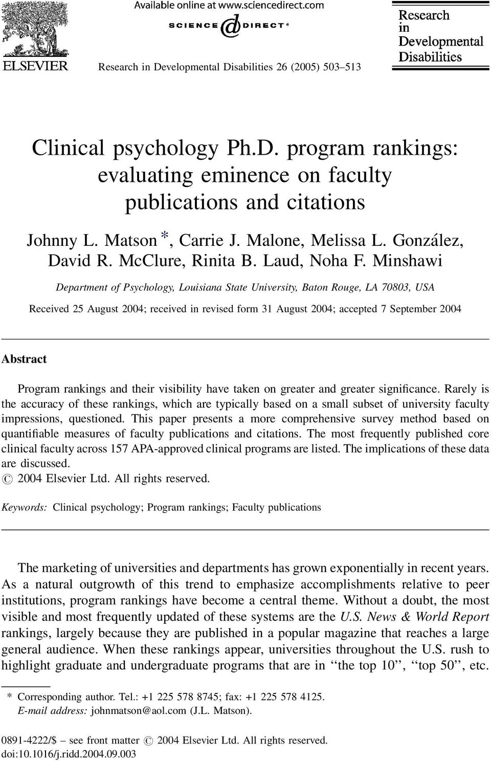 Minshawi Department of Psychology, Louisiana State University, Baton Rouge, LA 70803, USA Received 25 August 2004; received in revised form 31 August 2004; accepted 7 September 2004 Abstract Program