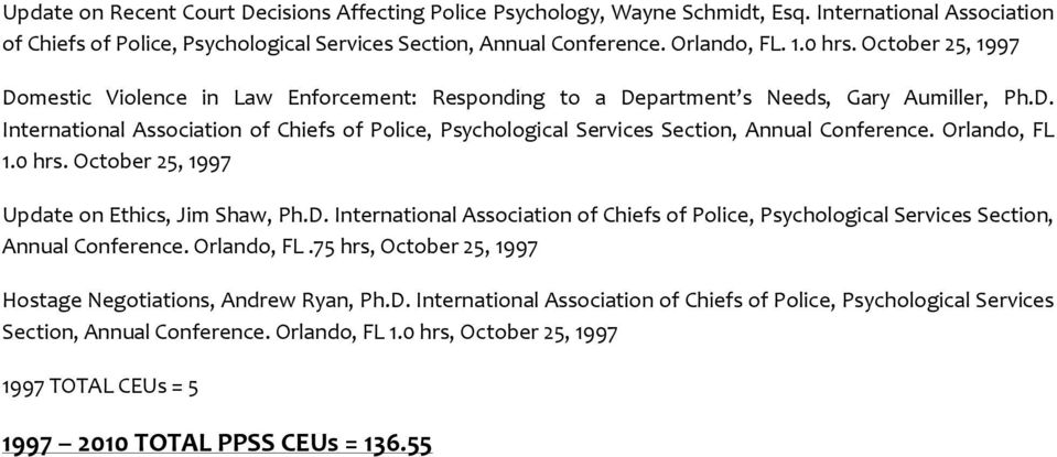 Orlando, FL 1.0 hrs. October 25, 1997 Update on Ethics, Jim Shaw, Ph.D. International Association of Chiefs of Police, Psychological Services Section, Annual Conference. Orlando, FL.