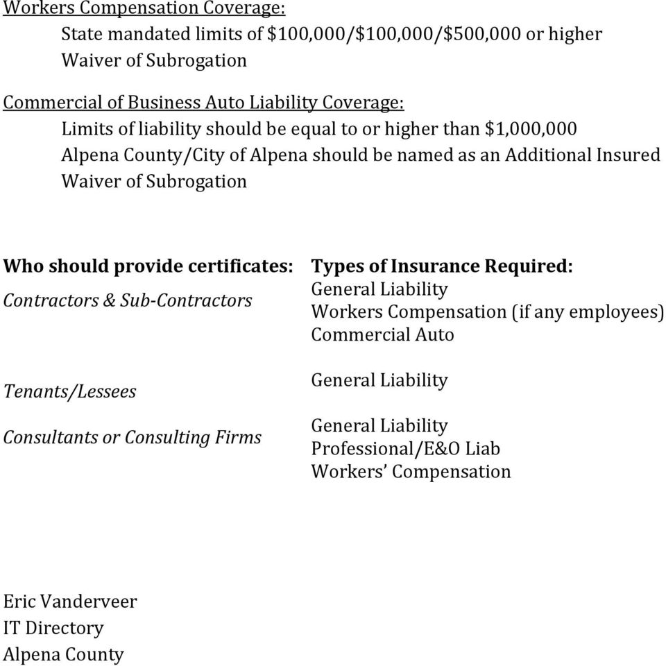 should provide certificates: Contractors & Sub-Contractors Tenants/Lessees Consultants or Consulting Firms Types of Insurance Required: General Liability Workers