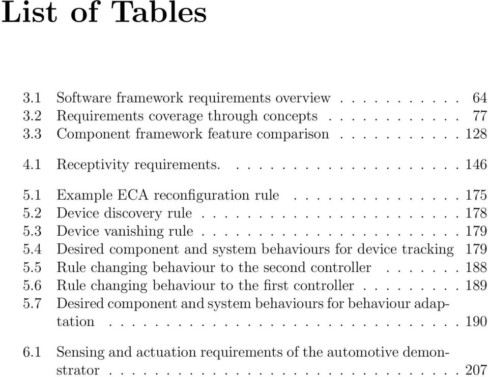 4 Desired component and system behaviours for device tracking 179 5.5 Rule changing behaviour to the second controller....... 188 5.6 Rule changing behaviour to the first controller......... 189 5.