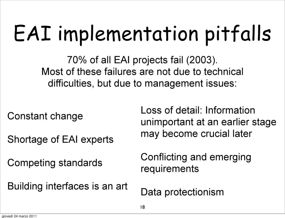 Constant change Shortage of EAI experts Competing standards Building interfaces is an art Loss of