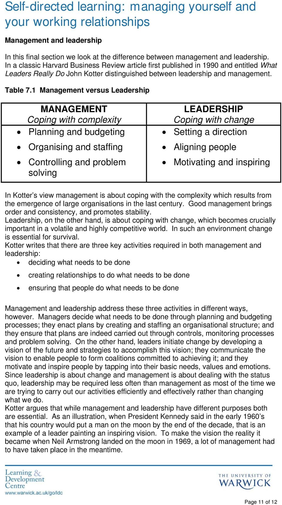 1 Management versus Leadership MANAGEMENT Coping with complexity Planning and budgeting Organising and staffing Controlling and problem solving LEADERSHIP Coping with change Setting a direction