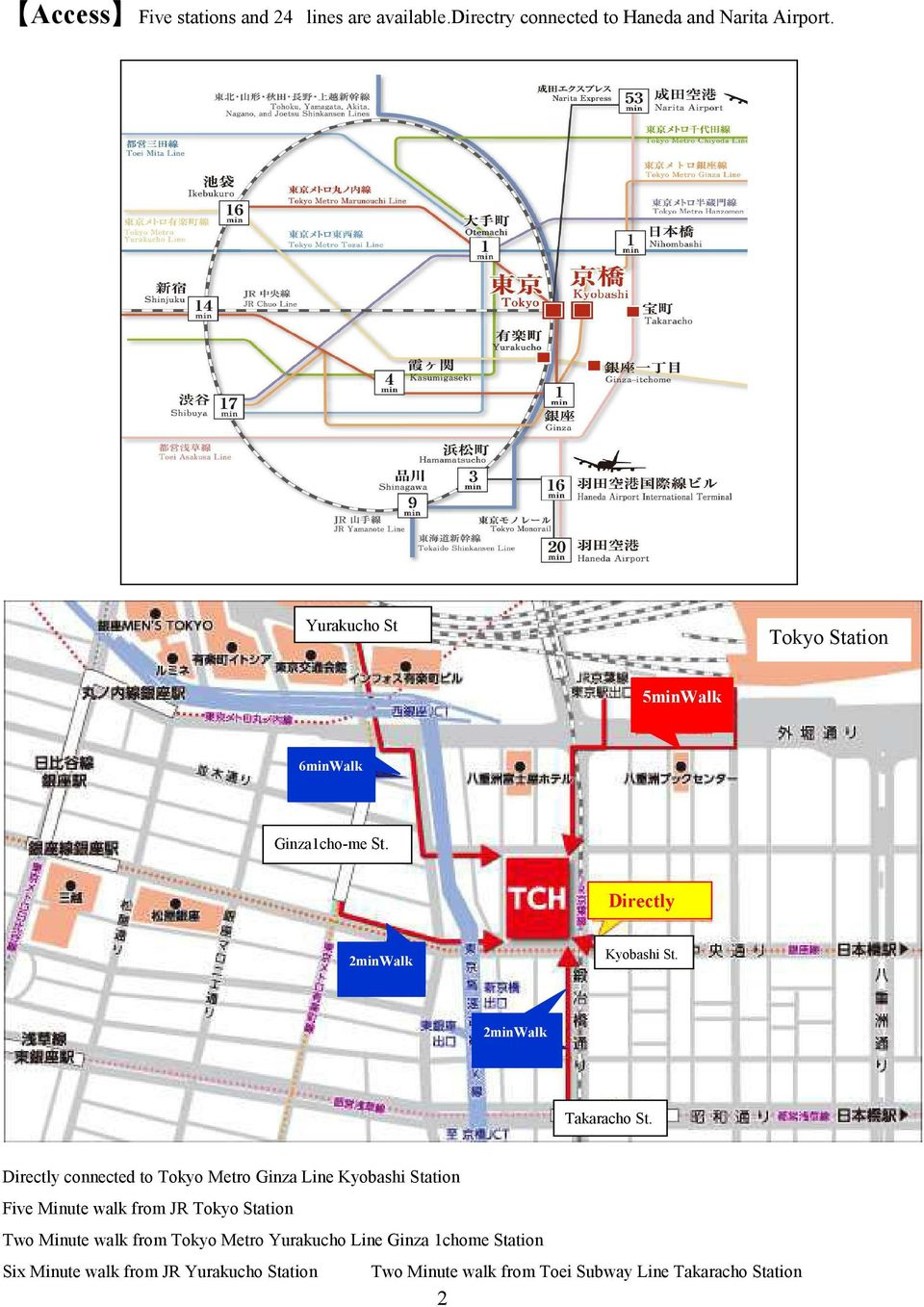 Directly connected to Tokyo Metro Ginza Line Kyobashi Station Five Minute walk from JR Tokyo Station Two Minute walk