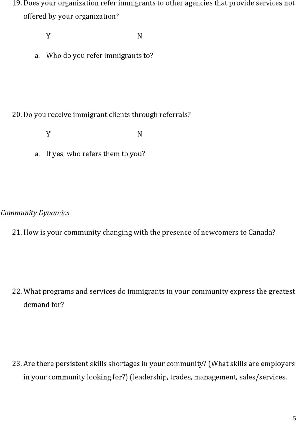 How is your community changing with the presence of newcomers to Canada? 22.