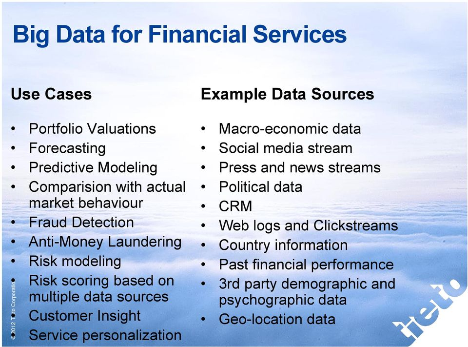 Insight Service personalization Example Data Sources Macro-economic data Social media stream Press and news streams Political data