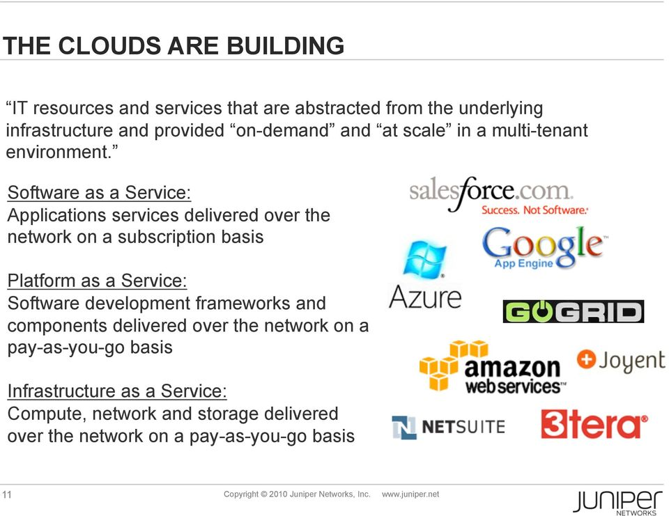 Software as a Service: Applications services delivered over the network on a subscription basis Platform as a Service: Software