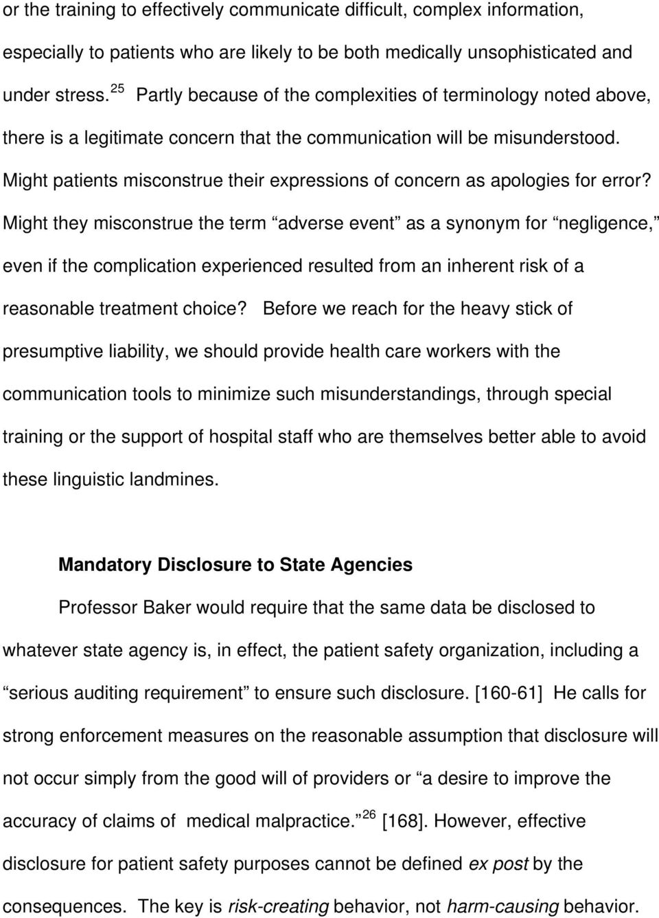 Might patients misconstrue their expressions of concern as apologies for error?