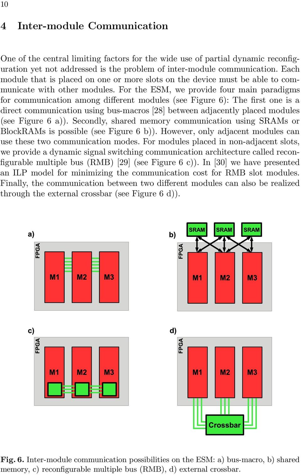 For the ESM, we provide four main paradigms for communication among different modules (see Figure 6): The first one is a direct communication using bus-macros [28] between adjacently placed modules