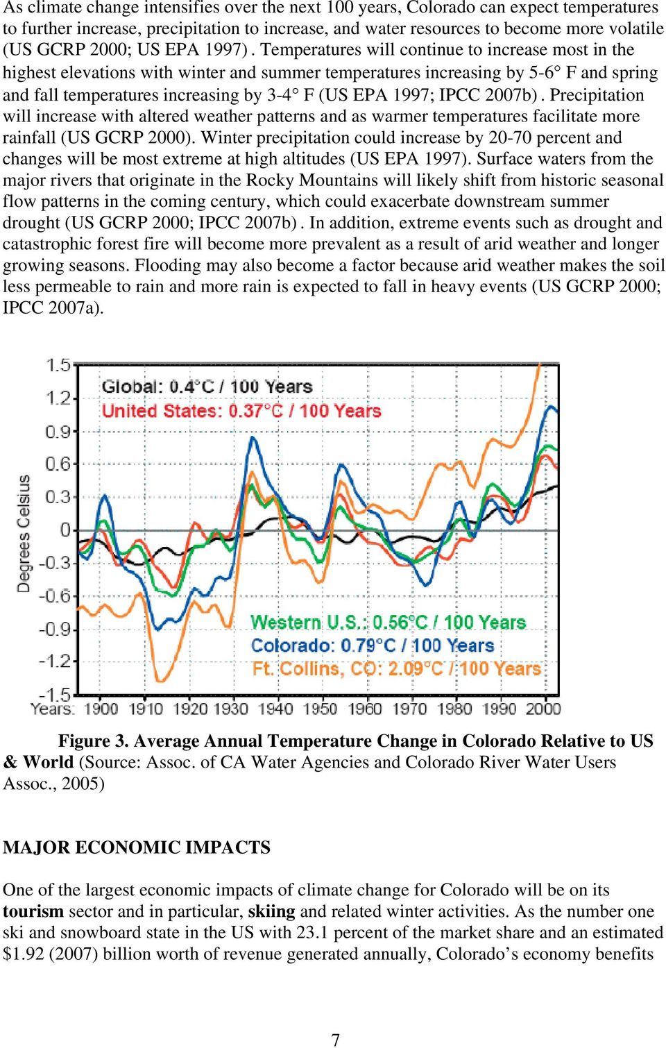 Temperatures will continue to increase most in the highest elevations with winter and summer temperatures increasing by 5-6 F and spring and fall temperatures increasing by 3-4 F (US EPA 1997; IPCC