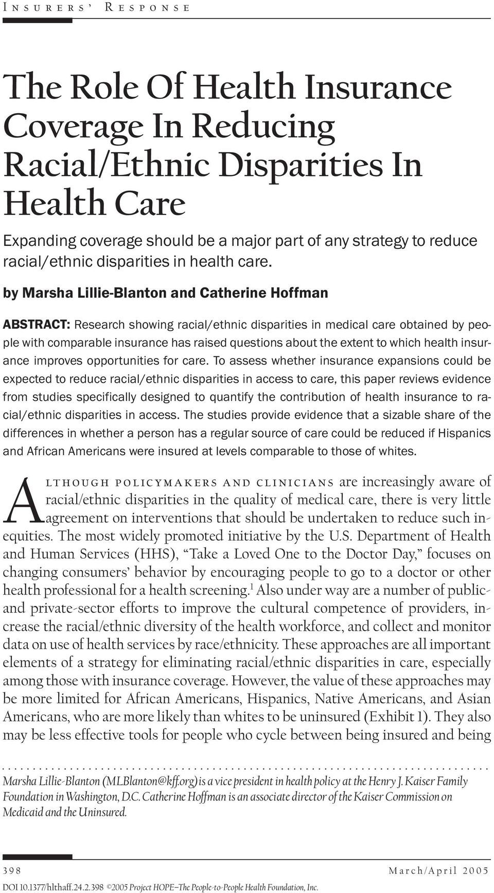 to which health insurance improves opportunities for care.