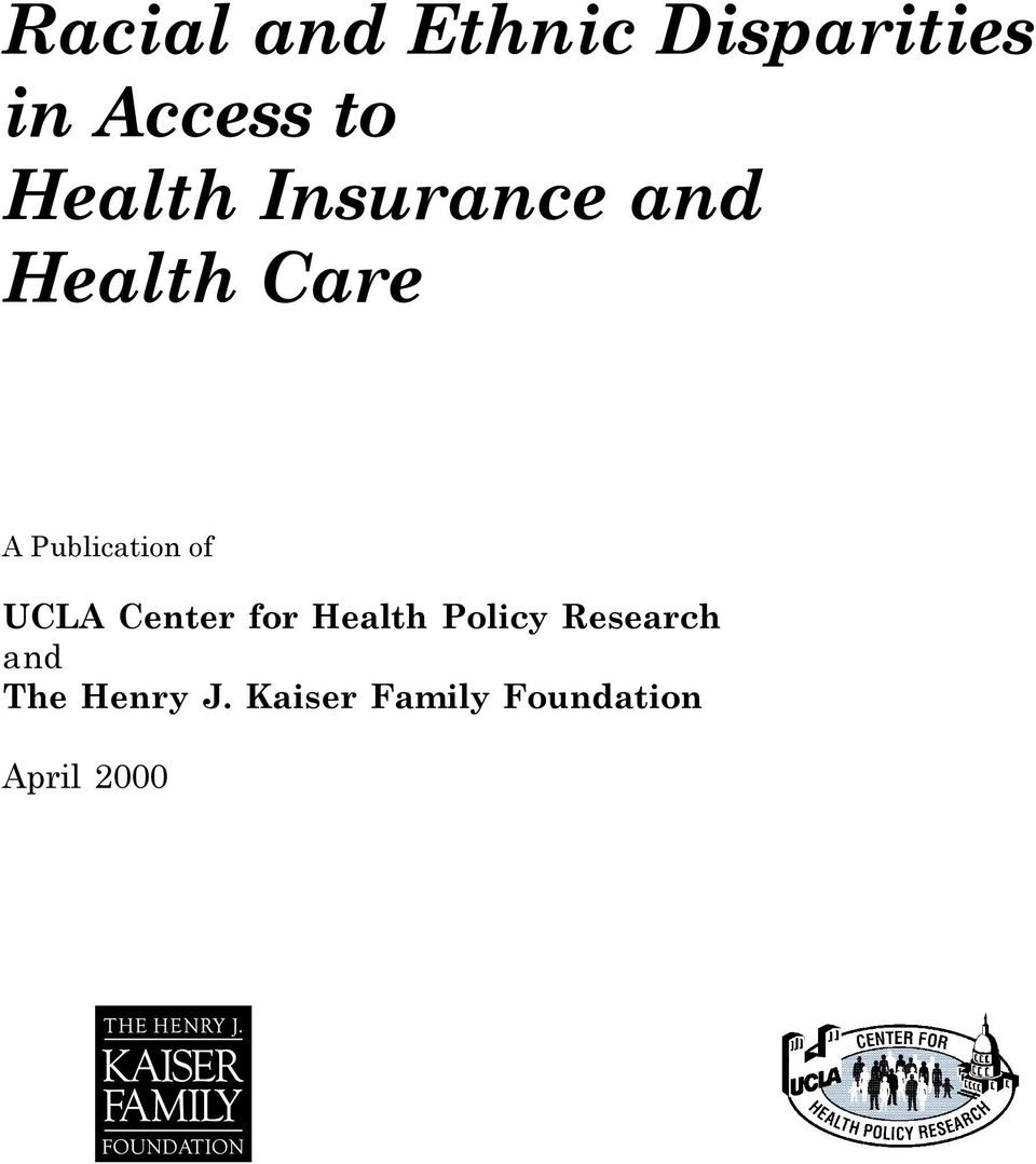 Publication of UCLA Center for Health Policy