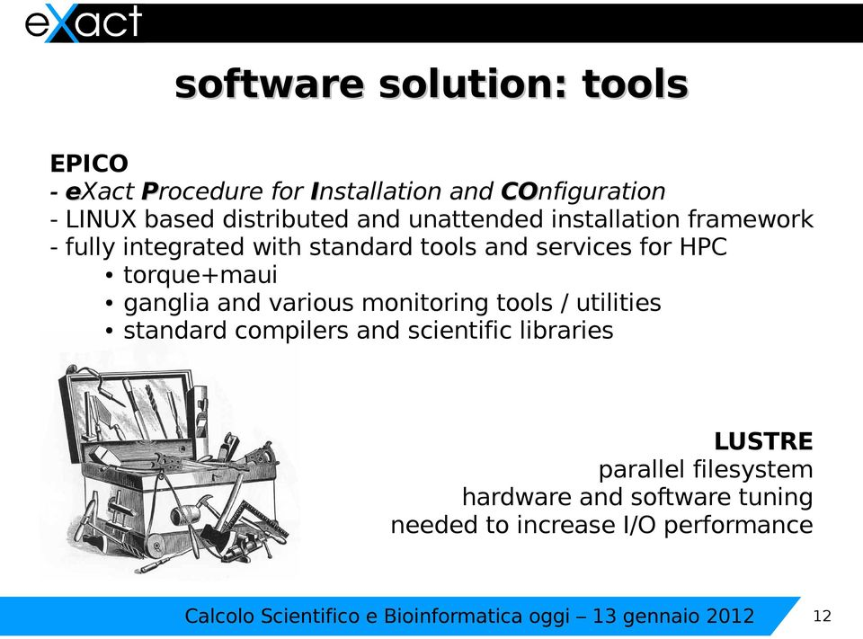and various monitoring tools / utilities standard compilers and scientific libraries LUSTRE parallel filesystem