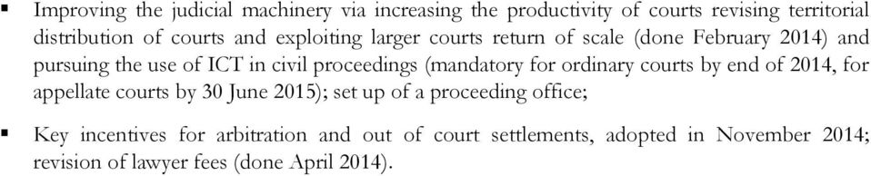 (mandatory for ordinary courts by end of 2014, for appellate courts by 30 June 2015); set up of a proceeding office;