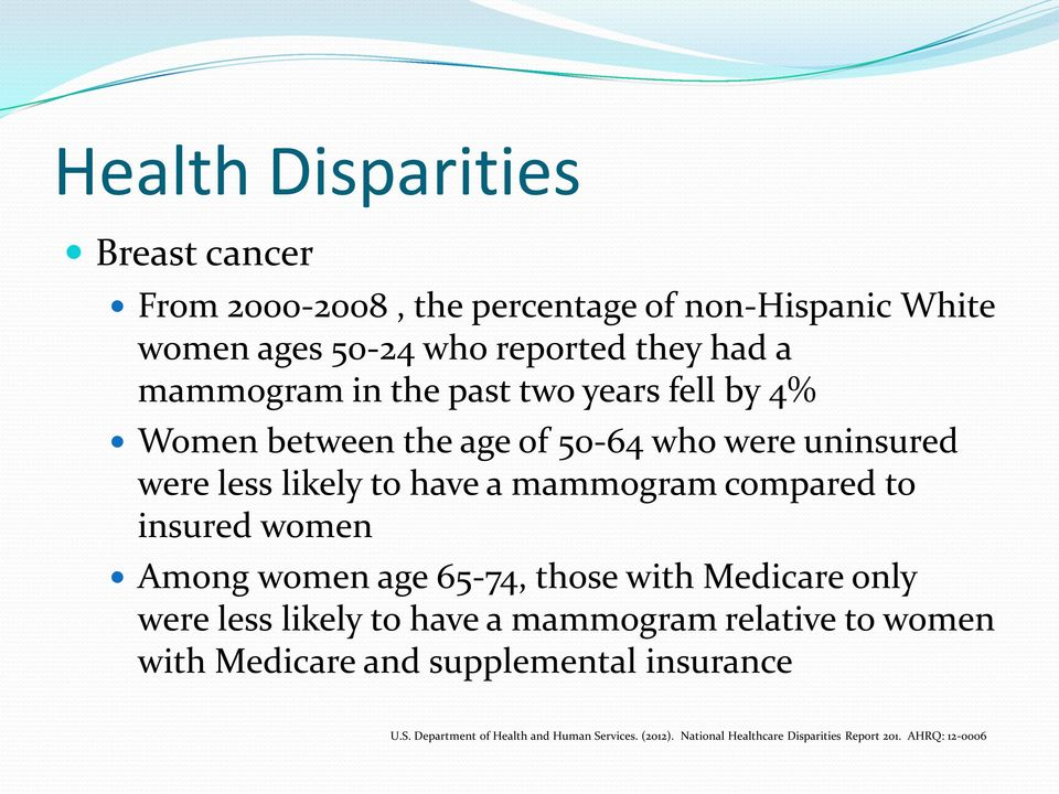 compared to insured women Among women age 65-74, those with Medicare only were less likely to have a mammogram relative to women with