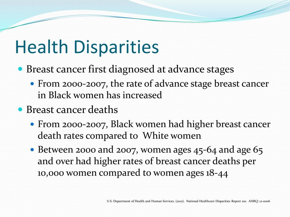 women Between 2000 and 2007, women ages 45-64 and age 65 and over had higher rates of breast cancer deaths per 10,000 women