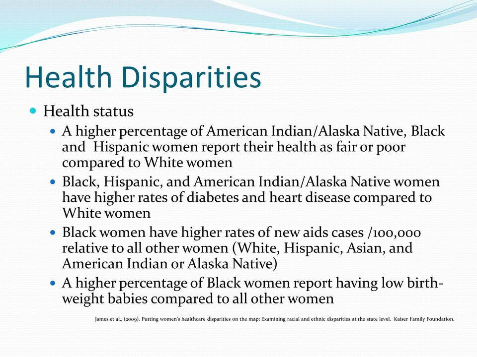/100,000 relative to all other women (White, Hispanic, Asian, and American Indian or Alaska Native) A higher percentage of Black women report having low birthweight babies