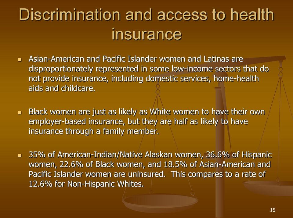 Black women are just as likely as White women to have their own employer-based insurance, but they are half as likely to have insurance through a family member.