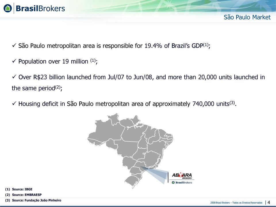to Jun/08, and more than 20,000 units launched in the same period (2) ; Housing deficit in São